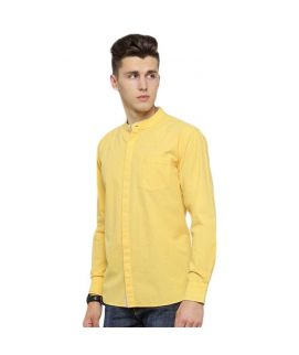 Yellow Egyptian Cotton Band Collar Casual Shirts For Men