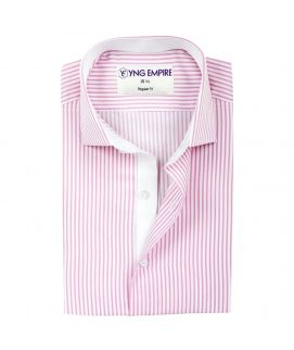 White Linen With Pink Cotton Shirt For Men