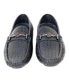 Navy Blue Leather Casual Shoes For Men