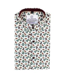 White With Maroon Printed Cotton Casual Shirt for Men