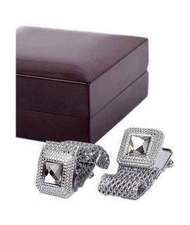 Silver Chain Stainless Steel Cufflinks For Men