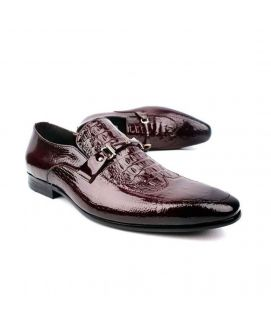 Red Wine Leather Formal Shoes For Men