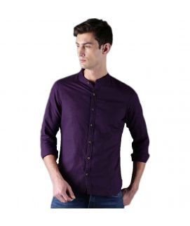 YNG Purple Band Collar Casual Shirts For Men