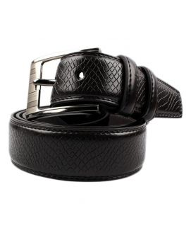 YNG Black Leather Texture Belt For Men