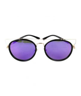 Wire Cut Out Frame Cat Eye Silhouette Blue Sunglasses Men
