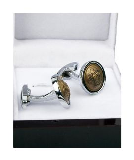 Silver With Brown Round Stone Shaped Cufflinks