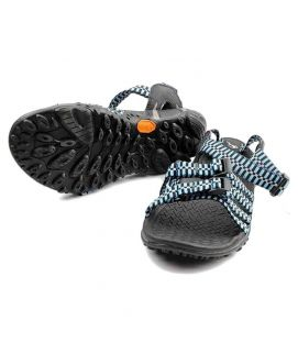 Leather Sandals Grey With Blue