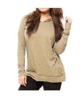 Z.E.A.L Beige Cotton Hoodie For Women