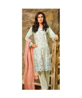 Abeer's Sky Green Embroidered Cotton Stitched Suit AFW 03