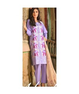 Abeer's Purple Embroidered Cotton Stitched Suit AFW 04