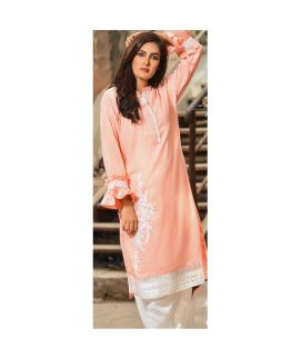 Abeer's Orange Embroidered Lawn Stitched Kurtis ASK 035