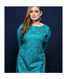 Abeer's Torquiose Formals Embroidered Stitched Kurtis AEC 03