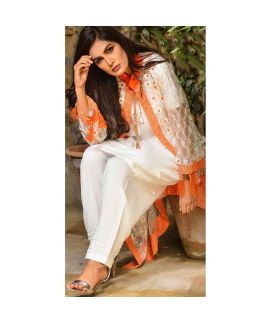 Abeer's White Formals Embroidered Stitched Kurtis AOG 01