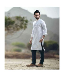 Men's White Kurta Black Shalwar