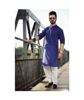 Royal Blue Kurta White Trouser For Men