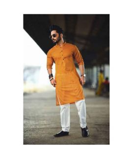 Mustard Kurta With White Trouser For Men