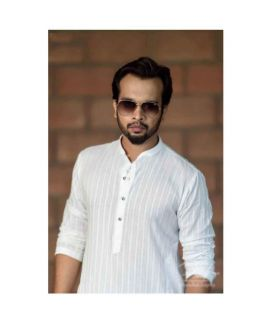 White Linen Kurta Shalwar For Men