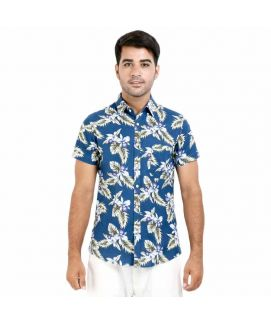Teal Button Down Printed Shirt For Men