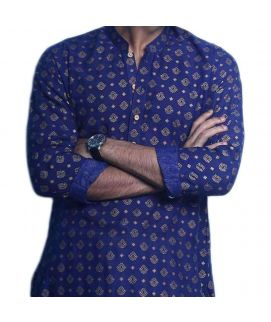 Printed Cotton Men's Kurta Blue