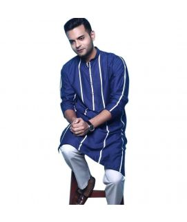 Printed Dark Blue Cotton Kurta For Men