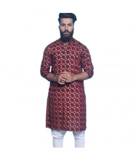 Printed Maroon Cotton Kurta For Men