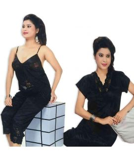 Black 3pc Nighty Gown Pj Set Nightwear