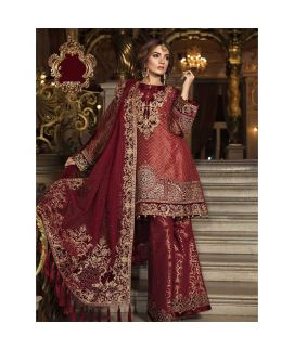 Maria B Embroidered Chiffon Unstitched 3 Piece Suit MB18 03 Wedding Collection