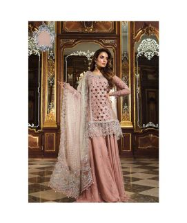 Maria B Embroidered Organza Unstitched 3 Piece Suit MB18 06 Wedding Collection