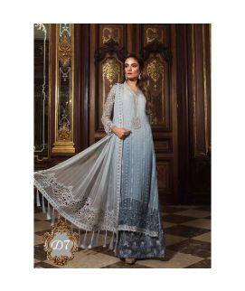 Maria B Embroidered Organza Unstitched 3 Piece Suit MB18 07 Wedding Collection