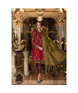 Maria B Embroidered Organza Unstitched 3 Piece Suit MB18 09 Wedding Collection
