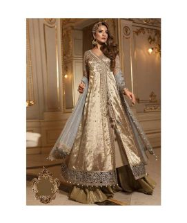 Maria B Embroidered Organza Unstitched 3 Piece Suit MB18 10 Wedding Collection