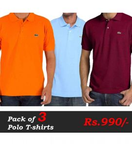 Polo T-Shirts Pack of 3 Deal (Orange, Blue, Maroon)