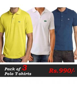 Polo T-Shirts Pack of 3 Deal (Yellow, White, Navy Blue)