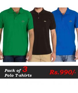 T-Shirts Pack of 3 Deal (Green, Brown, Blue)