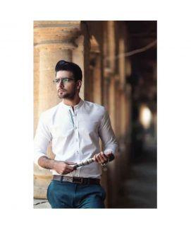 White Mandarin Collar Style Shirt For Men