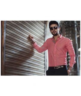 Straight Point Collar Style Pink Shirt For Men