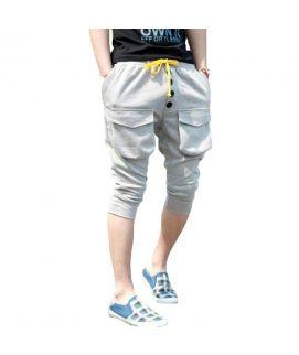 Mens Grey Ribbed Bermuda Shorts