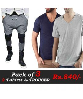T-Shirts and Trousers Pack of 3 (Blue, Grey & Grey Black Trouser)
