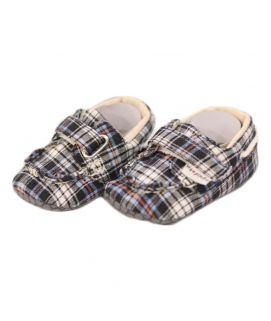 Baby Checkered Design Black Shoes