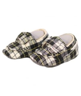 Baby Checkered Design Black & White Shoes