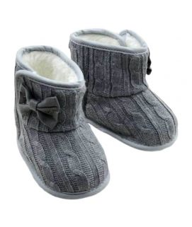 Baby Grey Wolen Yarn Warms Boots