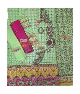 3pc Cotton Un Stich Lawn Green And Pink