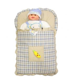 Beige Baby Carry Nest Checks Style