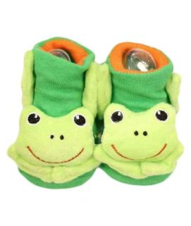 Baby Cartoon Printed Green Shoes