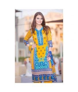 3 Piece Un-Stitched Suit Printed Yellow Blue