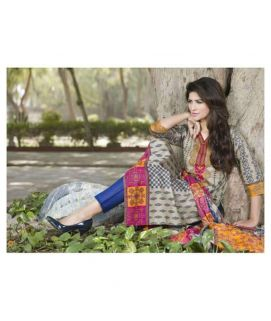 3 Pc Un-Stitched Multicolor Printed Suit