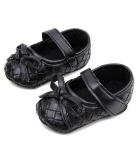 Baby Girl Black Leather Knot Shoes