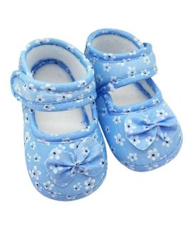 Baby Comfy Blue Flower Print Sandals