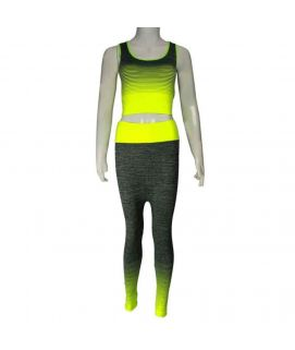 2 Piece Mesh Stretchy Training Suit Yellow 2